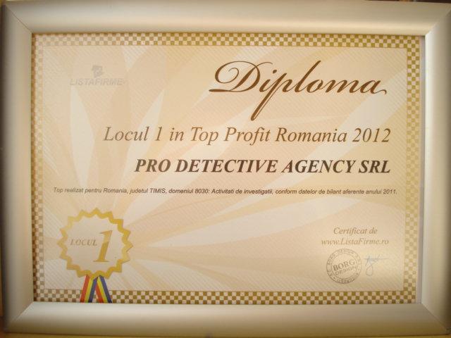 Diploma nr 1 in Romania in 2012 PRO DETECTIVE AGENCY